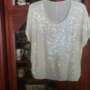 Tops - White sequined sexy shell stretchy